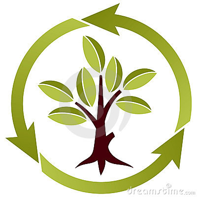 Tree with leaves and recycling symbol