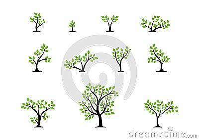 Tree logo concept,set of trees nature wellness symbol icon design vector Vector Illustration