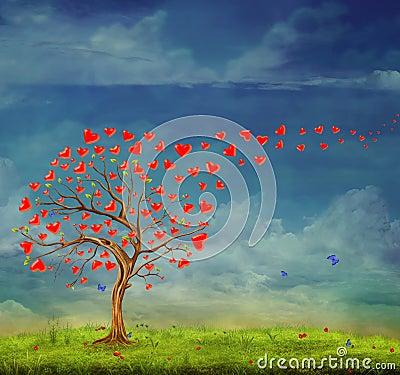 Tree of love Cartoon Illustration