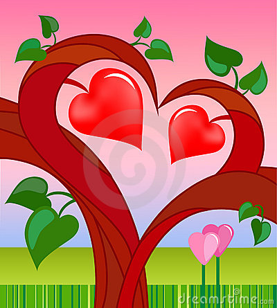 Tree of love with two hearts