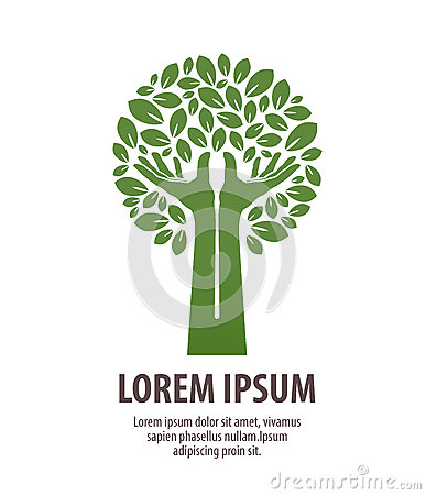 Tree made hands and leaves. Nature logo or ecology. Icon, symbol Vector Illustration