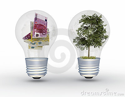 Tree and money in light bulbs