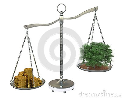 Tree and money to balance scales