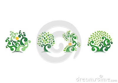Tree natural logo,green tree ecology illustration symbol icon vector design Vector Illustration