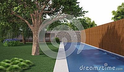 Tree near swiming pool