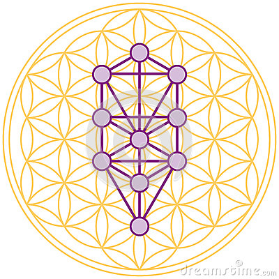 Free Tree Of Life Fits Perfect In The Flower Of Life Royalty Free Stock Photography - 34372297