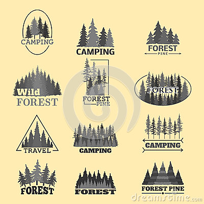 Tree outdoor travel green silhouette forest badge coniferous natural logo badge tops pine spruce vector. Vector Illustration