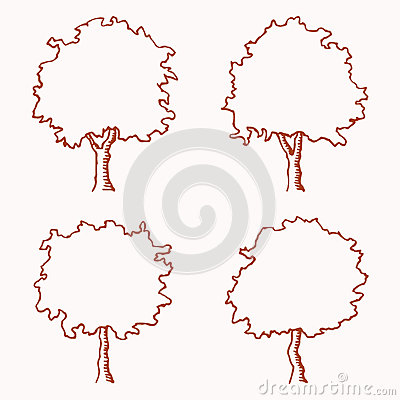Four outlines of trees. Image is hand drawn. Trees are suitable for ...