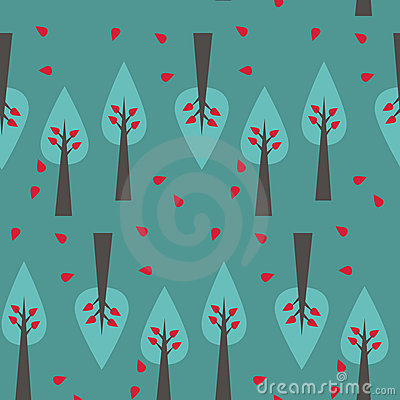 Tree pattern on green background