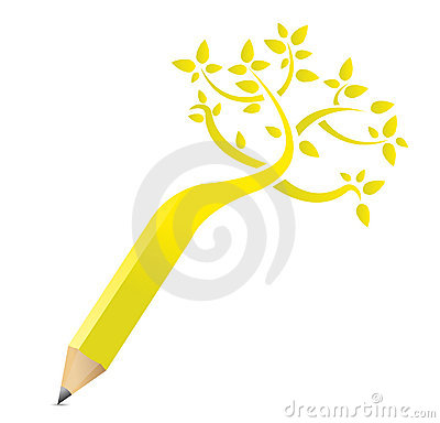 Tree pencil concept illustration design