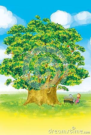 Tree and piano girl