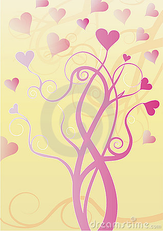 Tree  with pink hearts on tips of branches