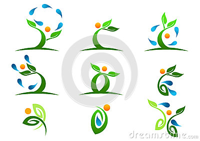 Tree,plant,people,water,natural,logo,health,sun,leaf,ecology,symbol icon design vector set Vector Illustration