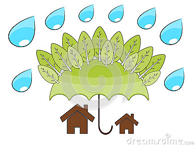 Tree protect home illustrattion