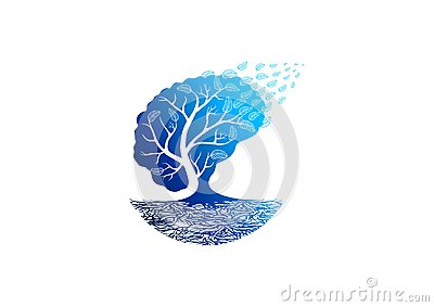 Tree psychology logo Vector Illustration
