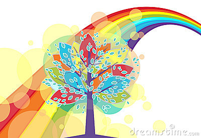 A tree with a rainbow
