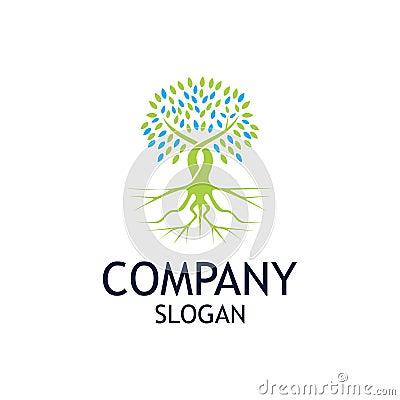 Tree Root Logo Design Template Vector Illustration