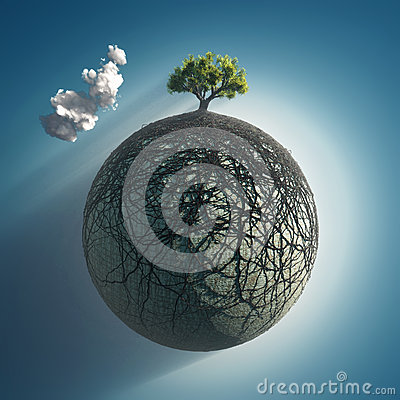 Free Tree Roots Covering The Planet Royalty Free Stock Photo - 24640115