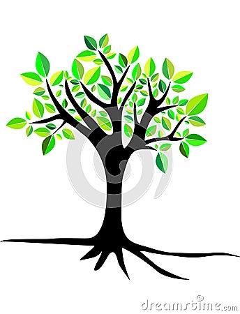 Tree with roots. greeny. logo Stock Photo