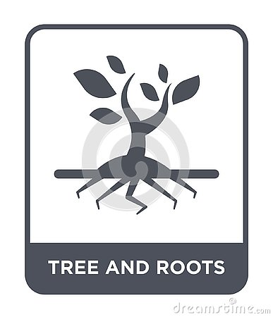 tree and roots icon in trendy design style. tree and roots icon isolated on white background. tree and roots vector icon simple Vector Illustration