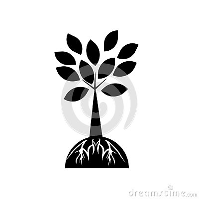 Tree and roots icon vector sign and symbol isolated on white background, Tree and roots logo concept Vector Illustration