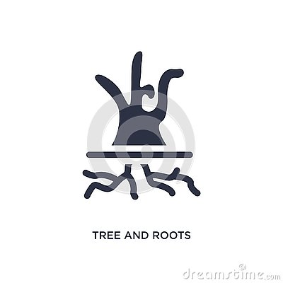 tree and roots icon on white background. Simple element illustration from ecology concept Vector Illustration
