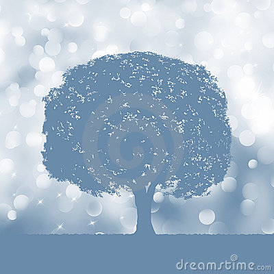 Free Tree Silhouette Blue And White Landscape. EPS 8 Stock Image - 21591171
