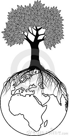 Tree silhouette on the globe
