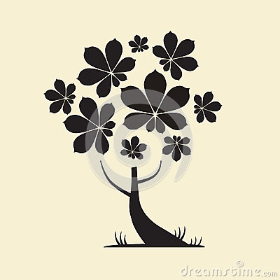 Free Tree Silhouette With Chestnut Leaves Stock Images - 40898354