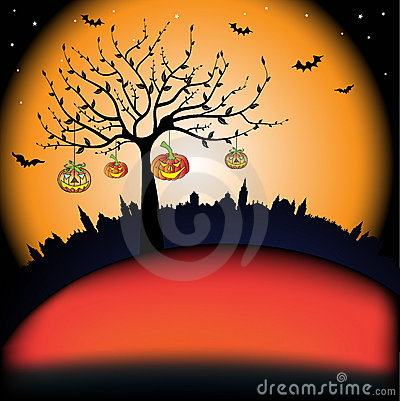 Tree with smiling pumpkins