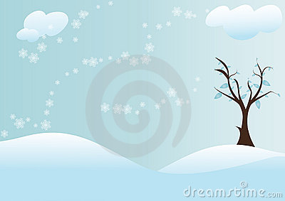 Tree with snow background