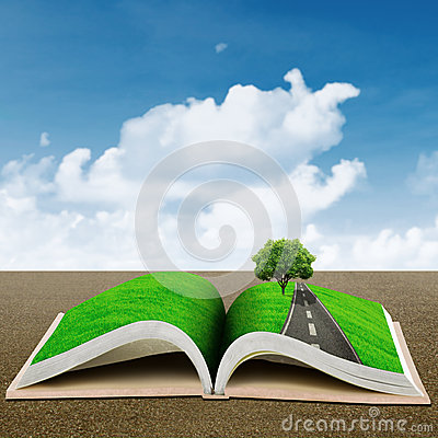 Open book with green tree