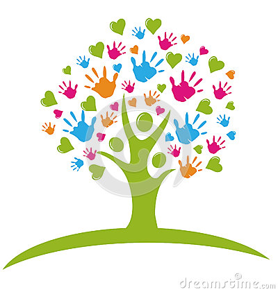 Free Tree With Hands And Hearts Logo Stock Image - 26757681