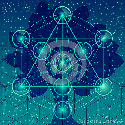 Free Tree With Sacred Geometry Symbols And Elements. Stock Photos - 72490893