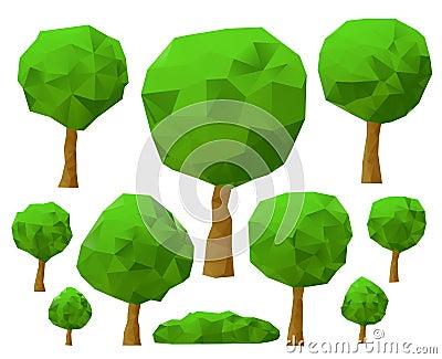 trees 3d imitation . Vector illustration.