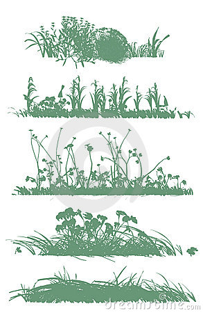 Free Trees And Grass Silhouettes Royalty Free Stock Photos - 13910058