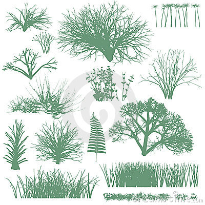 Free Trees And Grass Silhouettes Royalty Free Stock Image - 13910086