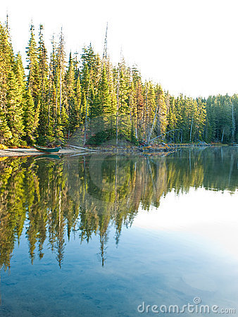 Trees and boat reflected in still lake