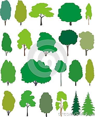Free Trees - Cartoon Set. Stock Images - 19636074