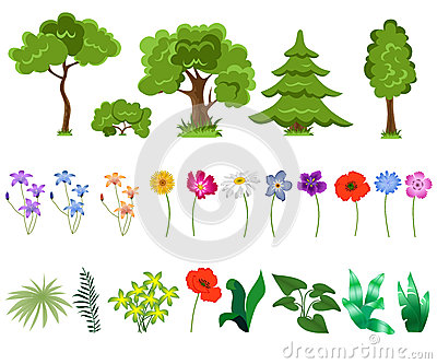 Trees and flowers on white background
