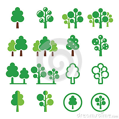 Trees, forest, park  green icons set