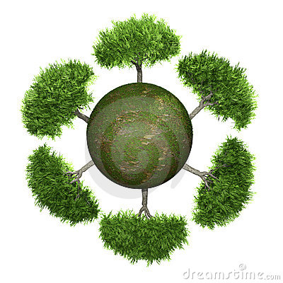 Trees on a green sphere