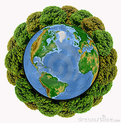 Trees growing around the Earth globe isolated on w