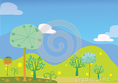 Trees and hill landscape vector kid illustration