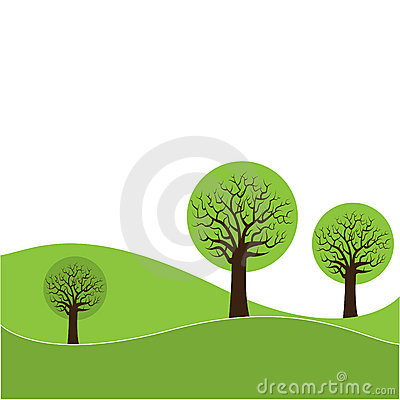 Trees and hills illustration