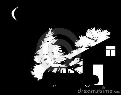 Trees, house and car silhouettes