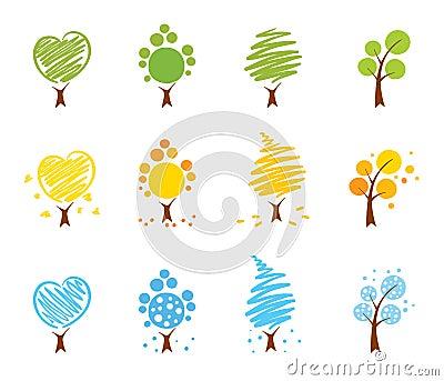 Trees Icon set (summer, winter, autumn)
