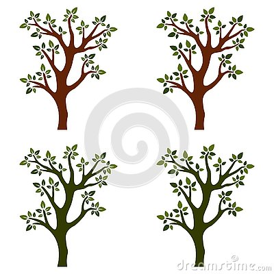 Trees isolated with branches on white background Vector Illustration
