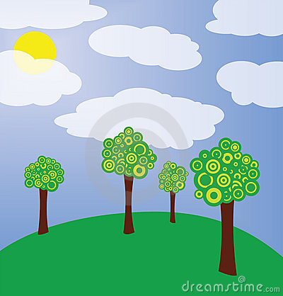 Trees on meadow illustration