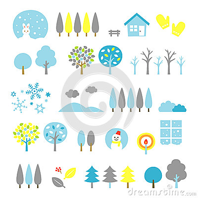 Free Trees Set Winter Stock Images - 44847494